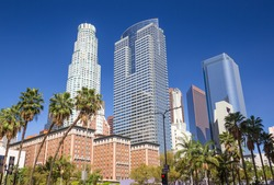 Pershing Square park buildings skyline in downtown Los Angeles