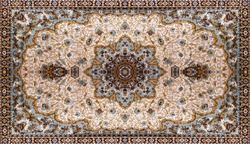 Persian Carpet Texture, abstract ornament. Round mandala pattern, Middle Eastern Traditional Carpet Fabric Texture. Turquoise milky blue grey brown yellow colored