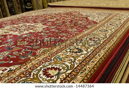 Persian carpets on display in Malaysia. - stock photo