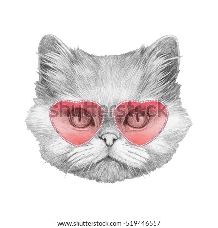 Persian Cat in Love! Portrait of Persian Cat with sunglasses. Hand drawn illustration.