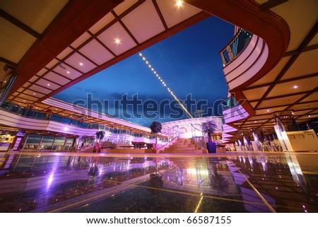PERSIAN GULF - APRIL 14: Reflected deck of Costa Deliziosa - the newest Costa cruise ship, April, 14 2010 in Persian Gulf.