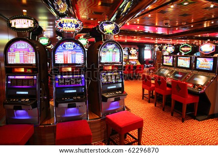 PERSIAN GULF - APRIL 14: Slot machines in play room, April 14, 2010 in Persian. Slot machines - most popular gambling.