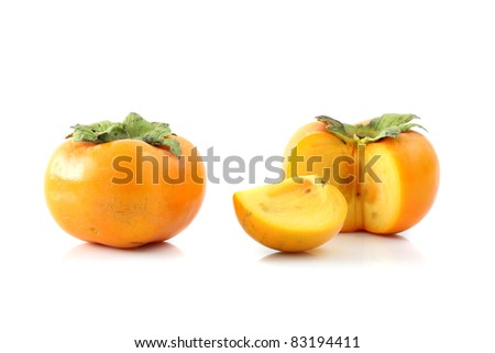 persimmon fruit isolated in white background