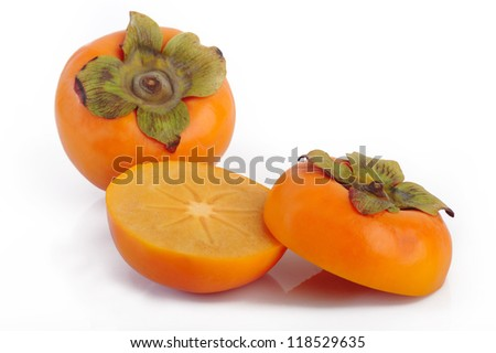 Persimmon fruit slice on white background