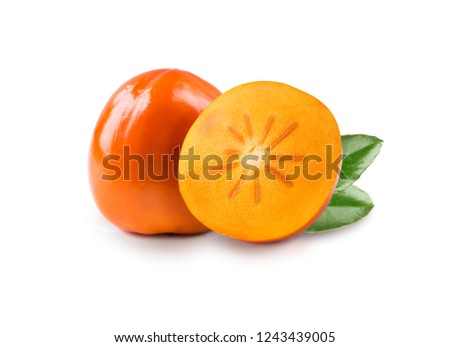 Persimmon with copy space for text. Orange ripe persimmon isolated on white background. Two persimmon on white. Fruit isolated on white background. Persimmon slice.