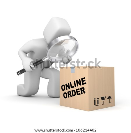 Person analyzing parcel