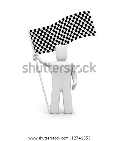 Person and checker flag