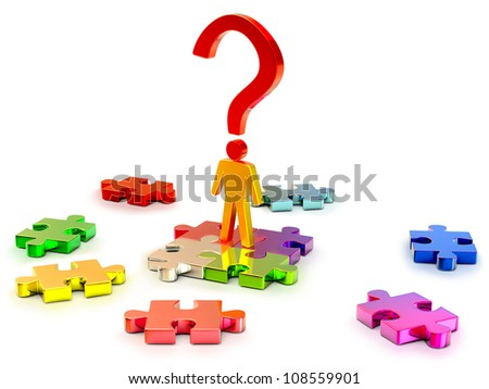 person and color puzzles as a symbol of searching a right solution