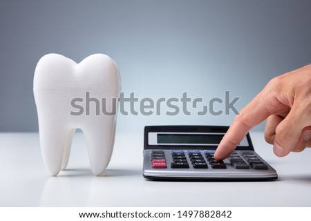 Person Calculating Expenses Near Tooth Model Over White Desk #1497882842