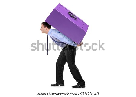 Person carrying a safe box on his back isolated against white background