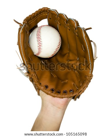 person catching baseball in leather baseball glove isolated in white Stock photo ©
