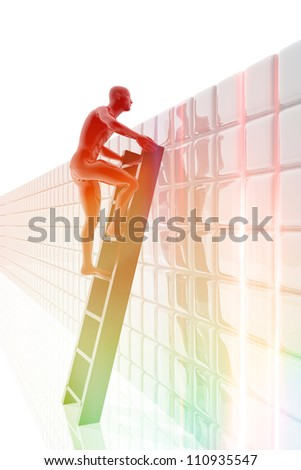Person climb on a ladder looking across a wall