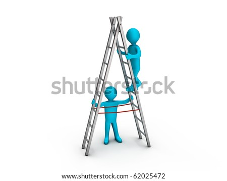 Person climbing a ladder and another keeping it steady