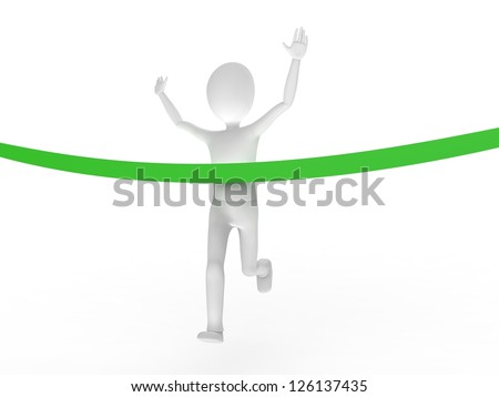 Person crossing the finish line first, breaking the tape - stock photo