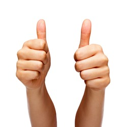 Person doing a thumbs up with both hands isolated in front of white background