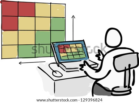 Person doing risk analysis on computer screen