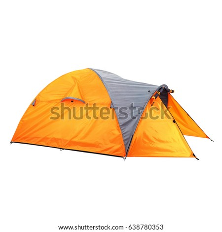 Person Dome Tent Isolated on White Background. Orange Dome Tent on Clipping Path. Camping Tent. Alpine Tent. Camping Equipment #638780353