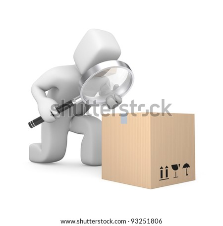 Person examines parcel. Image contain clipping path