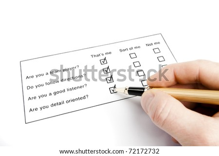 person filling out a questionnaire