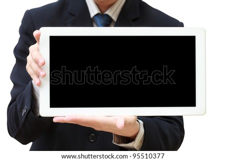 Person hand holds tablet computer isolated on white