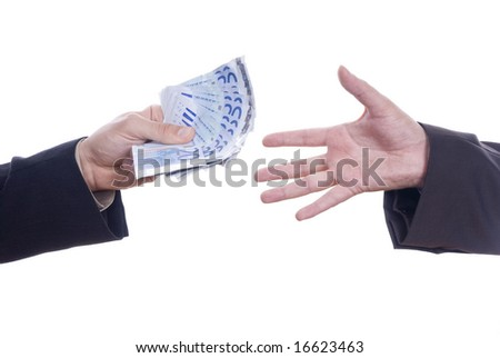person handing money to another person detail
