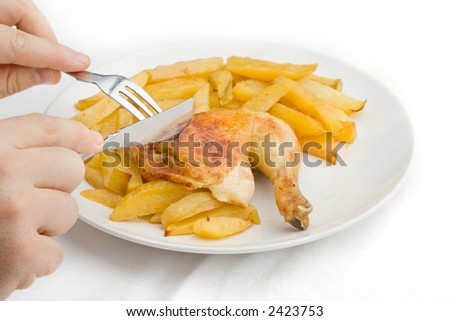 Person having a meal consisting of chicken and baked potatoes
