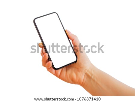 Person holding smartphone with blank white screen. Mobile app mockup. #1076871410