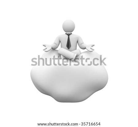 Person hovers in the clouds and offer something - stock photo