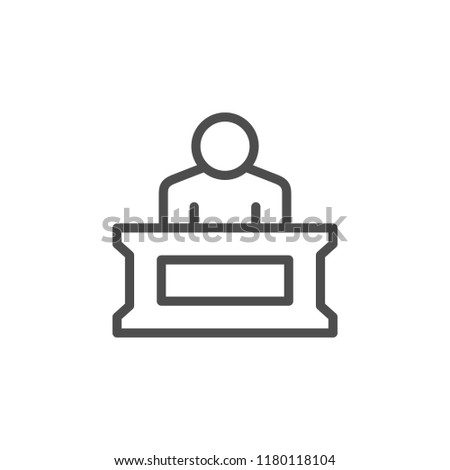 Person in court line icon isolated on white