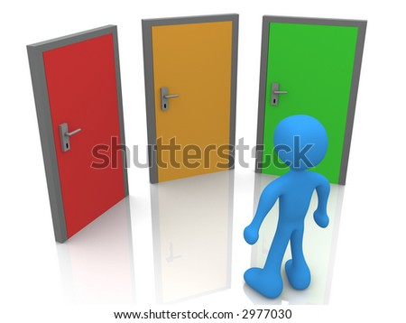 Person In Front Of Three Doors