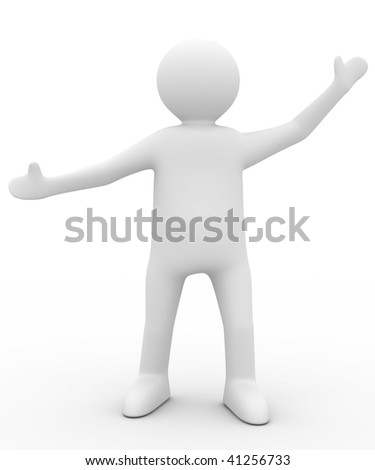 person in greeting pose. Isolated 3D image
