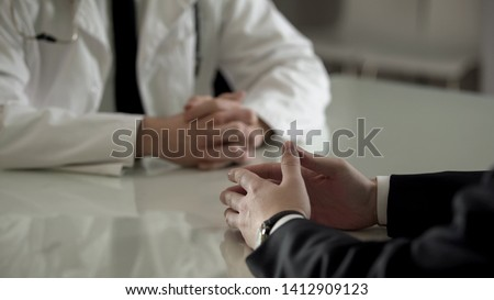 Person in suit at urologist appointment, private treatment of male diseases Foto stock ©