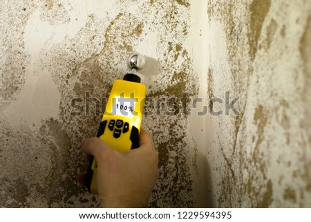 Person is measuring the humidity in a wet wall