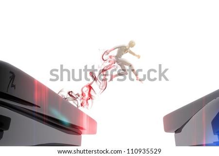 Person jumping over a precipice