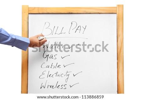 Person listing utility bills