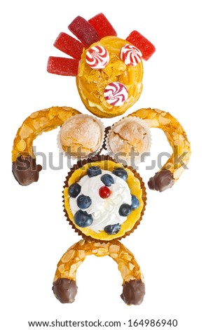 person made of sweets isolated