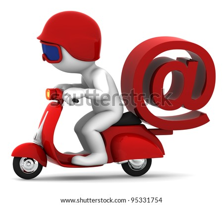 Person on scooter wit e-mail symbol. E-mail delivery concept. Isolated on white background
