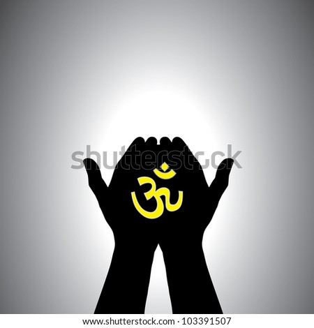 Person praying with sacred hindu symbol in hand - concept of a devout hindu worshiping god