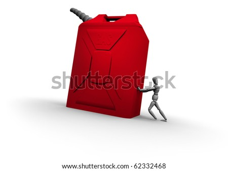 Person pushing large red gas can