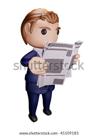 Person reads newspaper. 3D  illustration