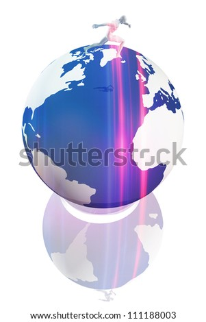 Person running on earth globe