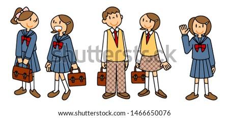 Person School Life Women Sailor Uniform Blazer Uniform Illustration