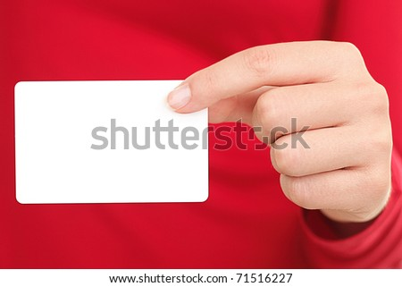 Person showing business card. Closeup of woman holding blank empty business card.