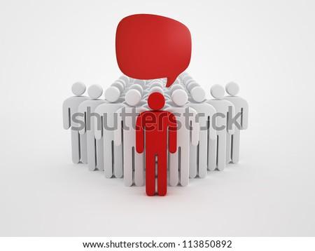 Person silhouette and speech bubbles - stock photo