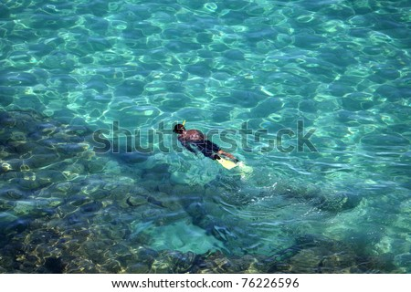 Person snorkeling in the sea