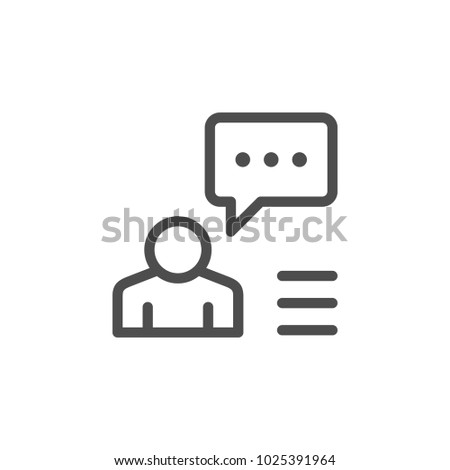 Person speech line icon isolated on white