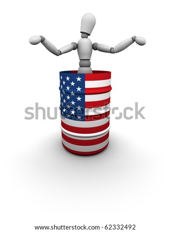 Person standing inside a USA oil drum