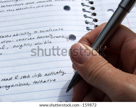 Person takes notes