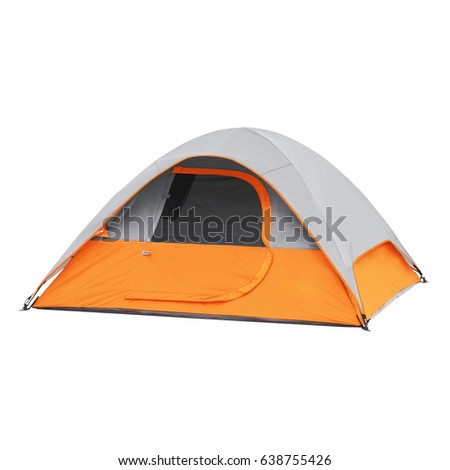 Person Tent Isolated on White Background. Orange Dome Tent on Clipping Path. Camping Tent. Alpine Tent. Camping Equipment