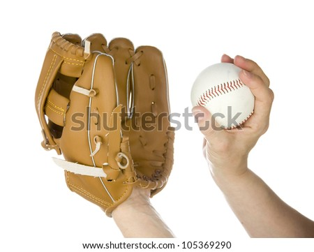 person throwing baseball into leather baseball glove on white background